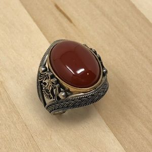 Other - 925 Silver Red Agate Mens Ring